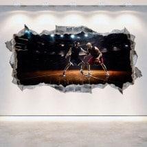 Vinilos 3D Pared Rota Baloncesto