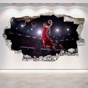Vinilos Agujero Pared Baloncesto 3D