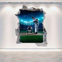 Vinilos Pared Rota 3D Baseball