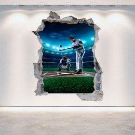 Vinilos Pared Rota 3D Baseball
