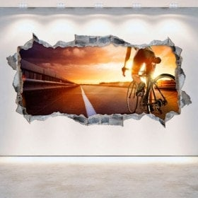 Vinilos 3D Ciclismo Agujero Pared