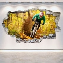 Vinilos Mountain Bike 3D Pared Rota