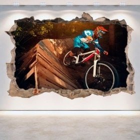 Vinilos Pared Rota 3D Mountain Bike