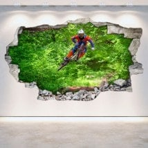 Vinilos 3D Mountain Bike Agujero Pared