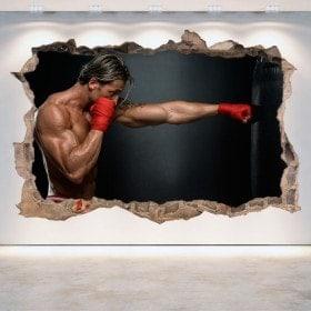 Vinilos 3D Pared Rota Boxeo