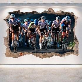 Vinilos Ciclismo Pared Rota 3D
