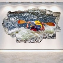 Vinilos 3D Rafting Kayak Pared Rota