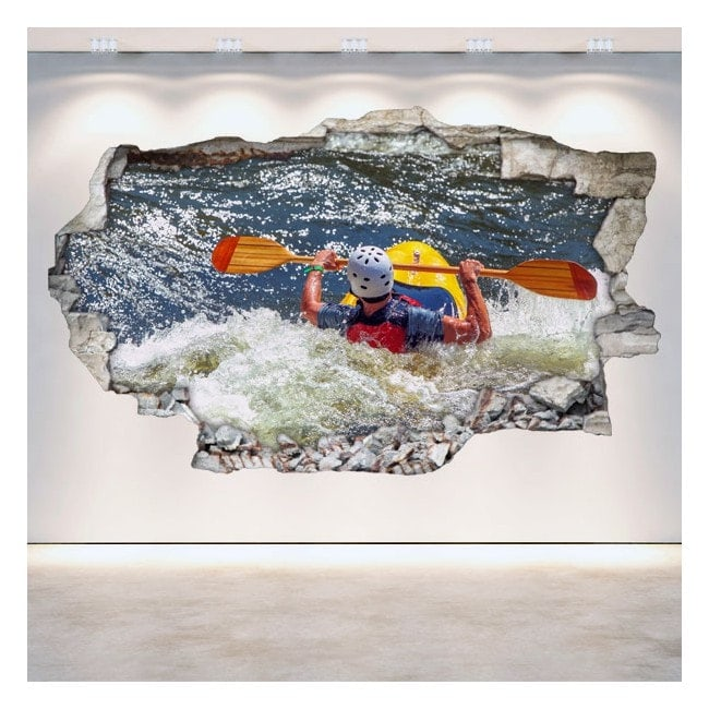 Vinilos 3D Rafting Kayak Pared Rota
