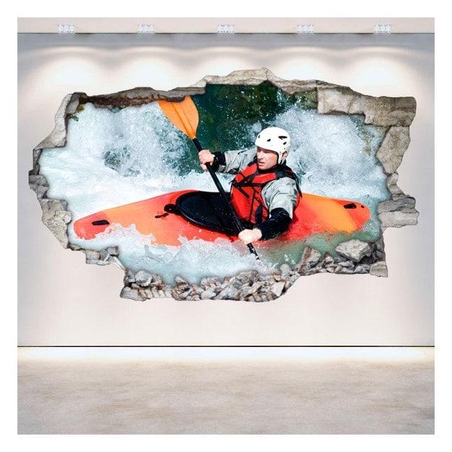 Vinilos Rafting Kayak Pared Rota 3D