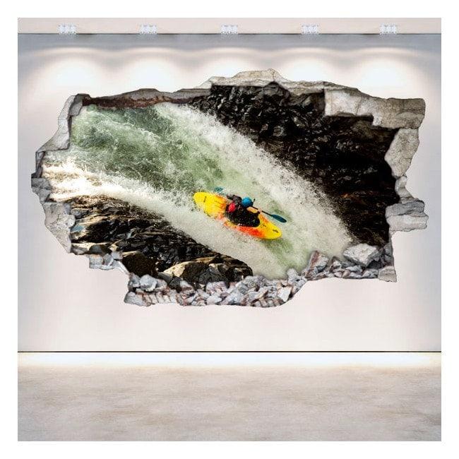 Vinilos 3D Pared Rota Rafting Kayak