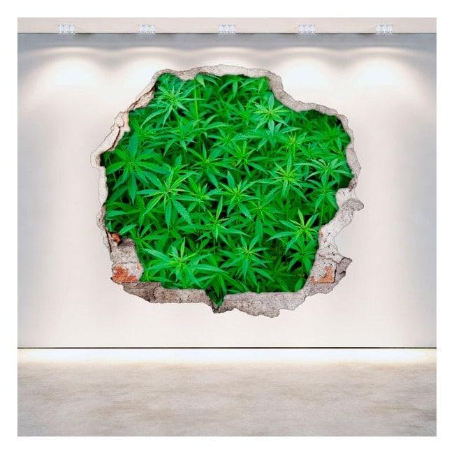 Vinilos Marihuana Agujero Pared 3D