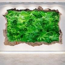 Vinilos Pared Rota Marihuana 3D