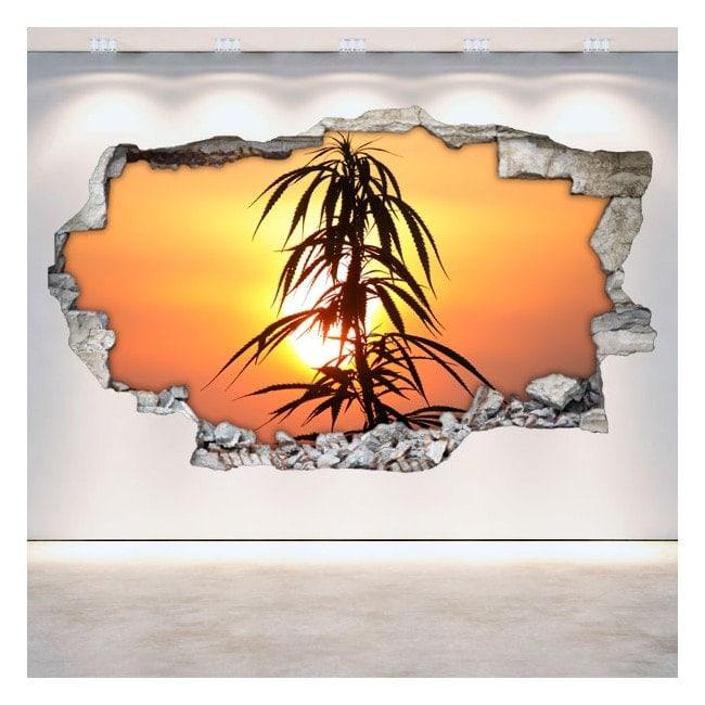 Vinilos Decorativos Marihuana 3D Pared Rota