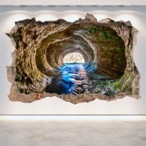 Vinilos Cuevas Agujero Pared 3D