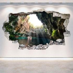 Vinilos Grutas Y Cuevas Pared Rota 3D