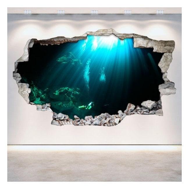 Vinilos Cuevas Submarinas Pared Rota 3D