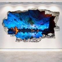 Vinilos Cuevas Y Grutas Agujero Pared 3D