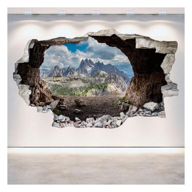 Vinilos Cuevas 3D Pared Rota