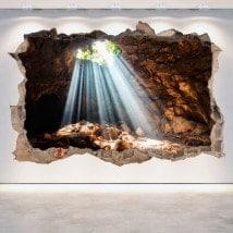 Vinilos 3D Grutas Y Cuevas Agujero Pared