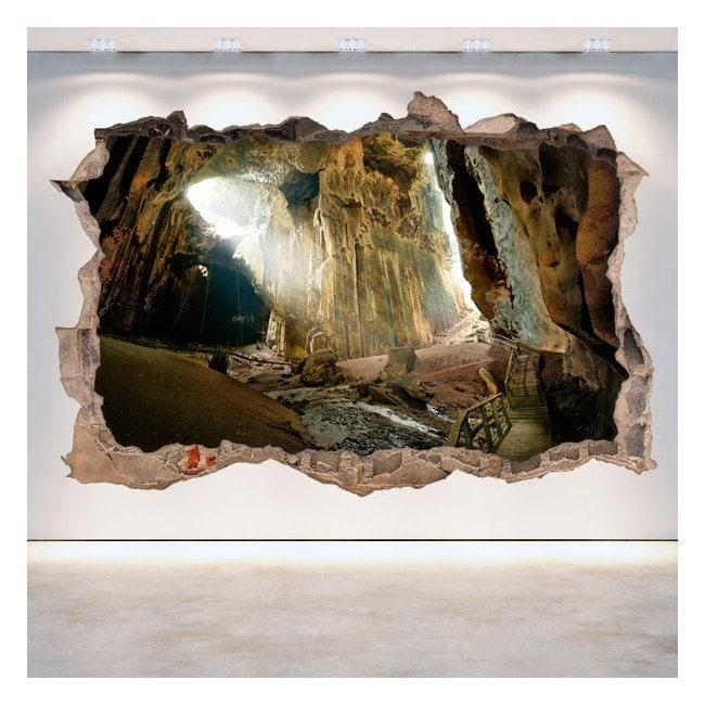 Vinilos 3D Cuevas Agujero Pared