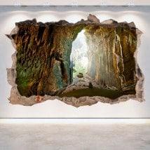 Vinilos Decorativos Cuevas Pared Rota 3D