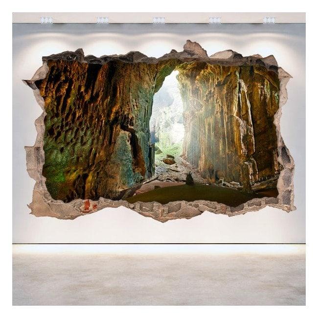 Vinilos decorativos cuevas pared rota 3d for Vinilos decorativos pared 3d
