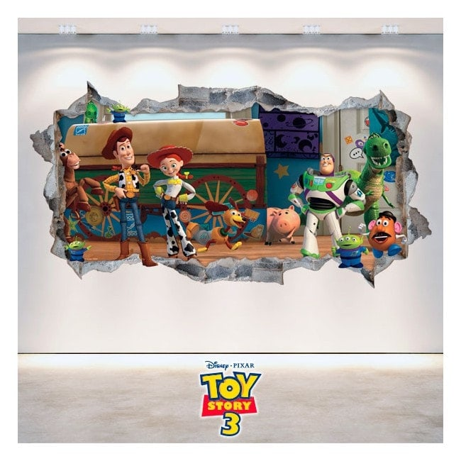 Vinilos Decorativos Toy Story 3 Pared Rota 3D