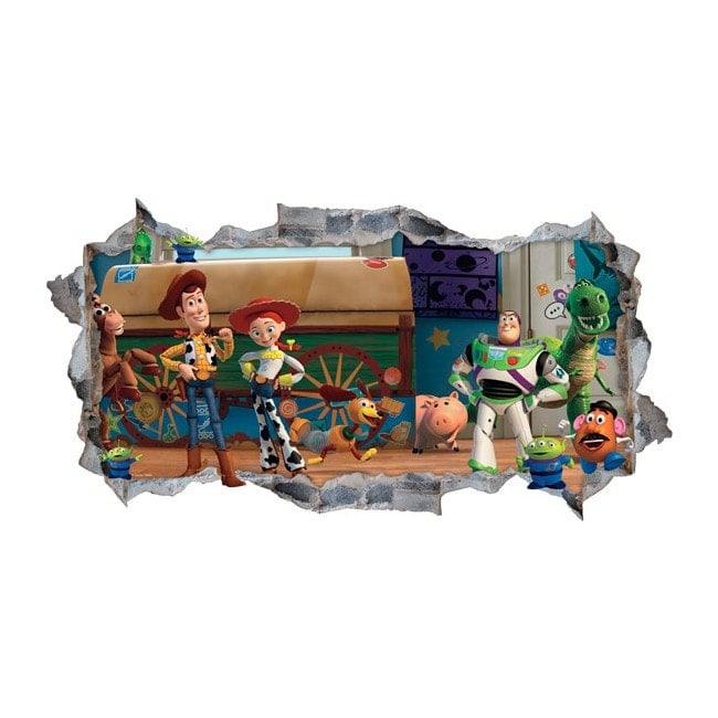 Vinilos decorativos toy story 3 pared rota 3d for Vinilos decorativos pared 3d