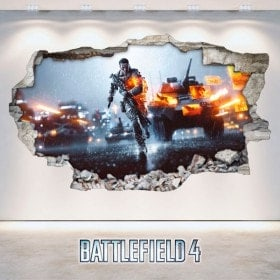 Vinilos Decorativos Battlefield Pared Rota 3D