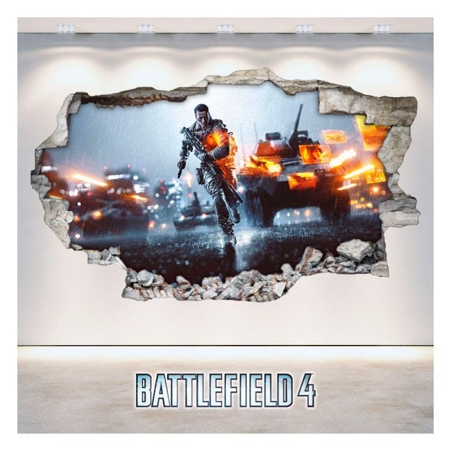 Vinilos Decorativos Battlefield Pared Rota 3D