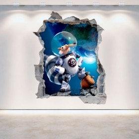 Vinilos Decorativos 3D Ice Age 5 Pared Rota
