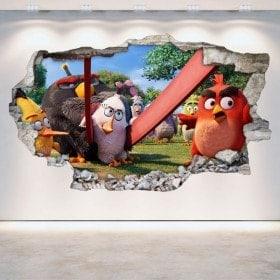 Vinilos Decorativos Angry Birds Pared Rota 3D