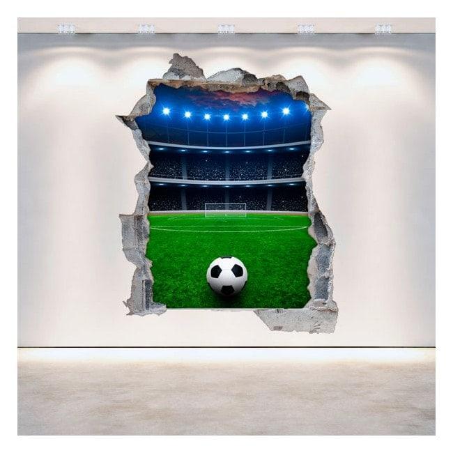 Vinilos Pared Rota 3D Estadio De Fútbol