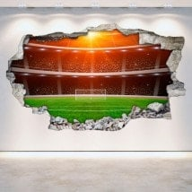 Vinilos Estadio Fútbol Pared Rota 3D