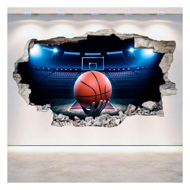 Vinilos Baloncesto Pared Rota 3D