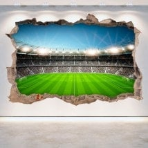 Vinilo Fútbol Estadio Pared Rota 3D