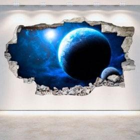 Vinilos Pared Rota Planetas Espacio 3D
