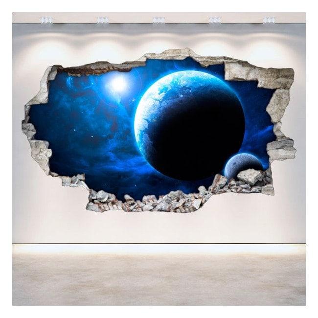 Vinilos pared rota planetas espacio 3d for Oferta vinilos pared