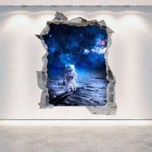 Vinilos 3D Pared Rota Astronauta En La Luna