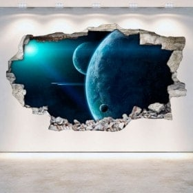 Vinilos Pared Rota Planetas En El Espacio 3D