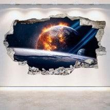 Vinilos 3D Planetas En El Espacio Pared Rota