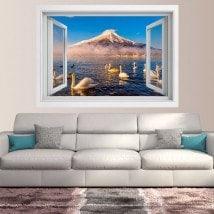 Ventanas 3D Cisnes Lago Kawaguchi Monte Fuji