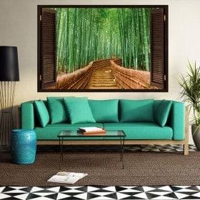 Ventana 3D Bambú Escaleras