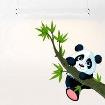 Vinilos Infantiles Oso Panda Y Rama Árbol