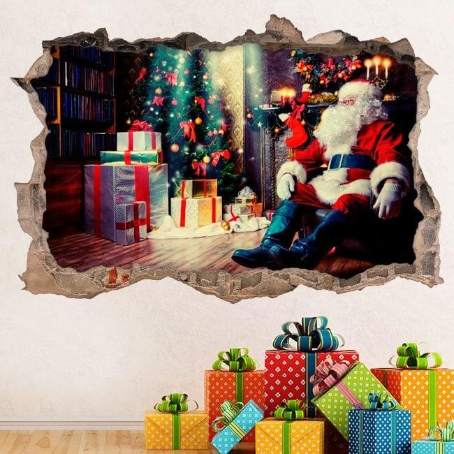 Vinilos 3D Santa Claus Navidad