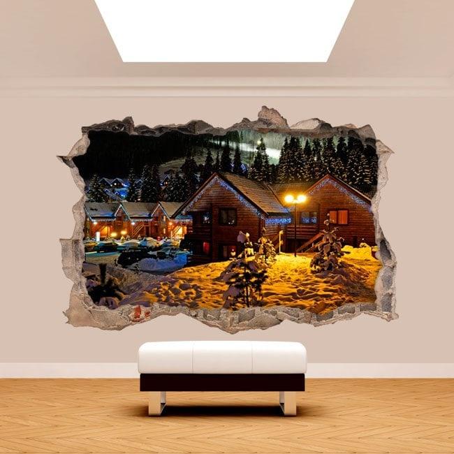 Vinilos 3D Invierno En Las Montañas