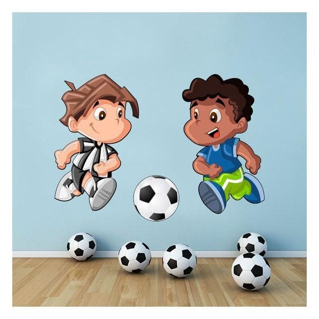 Vinilos Infantiles Niños Jugando Fútbol
