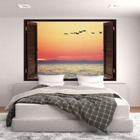 Ventanas En Vinilo 3D Atardecer En El Mar