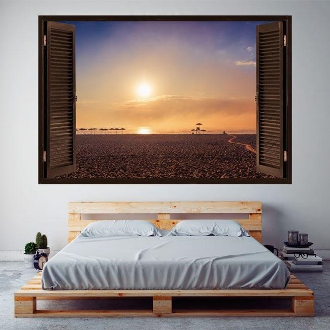 Ventanas En Vinilo 3D Atardecer En La Playa