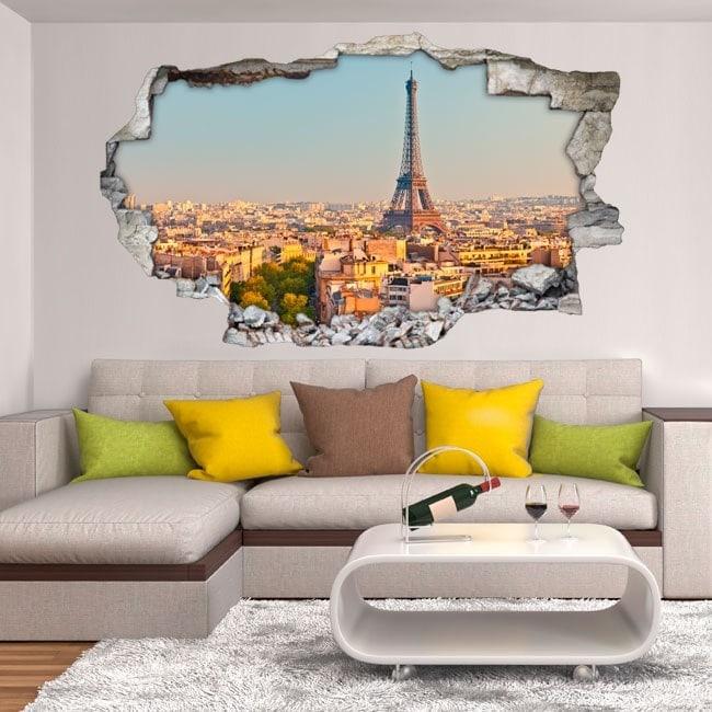 Vinilos Agujero Pared París Torre Eiffel